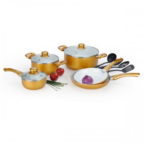12-Piece Ceramic Cookware Set, Gold