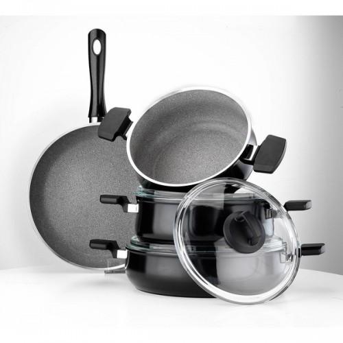 Aluminum Multigranit Neptune 7 Piece Cookware Set (Black)