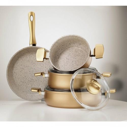 Aluminum Multigranit Neptune 7-Piece Cookware Set (Gold)