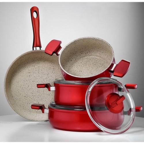 Aluminum Multigranit Neptune 7 Piece Cookware Set - Red