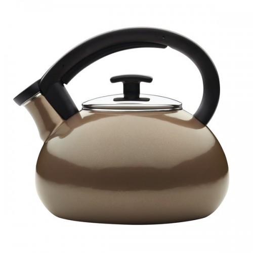 Anolon Allume Teakettles 2-Quart Enamel on Steel Teakettle, Umber
