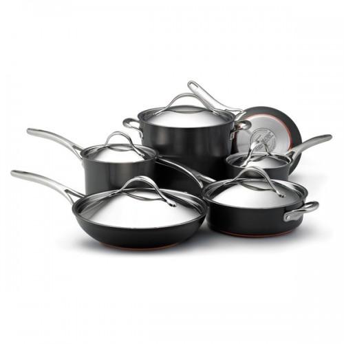 Anolon Nouvelle Copper Hard-anodized Nonstick 11-piece Dark Grey Cookware Set