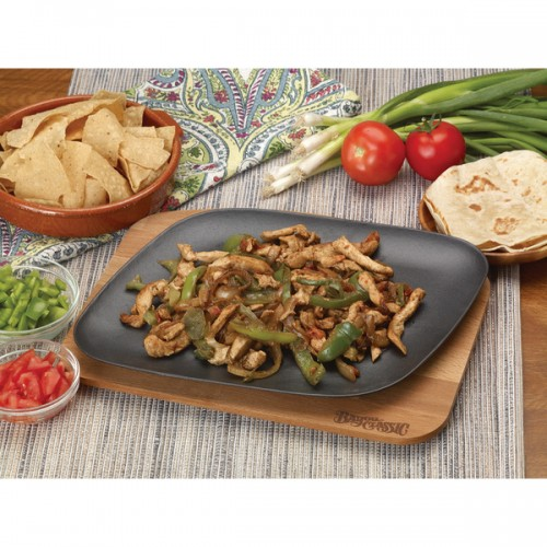 Bayou Classic Black Cast Iron Enameled Fajita Pan with Wooden Trivet