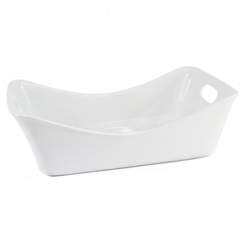 Blue Harbor White Ceramic 5 Quart Rectangular Open Baker with Handles