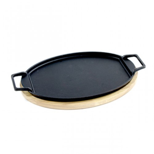 Bayou Classic Black Cast Iron Fiesta Fajita Pan With Wooden Trivet