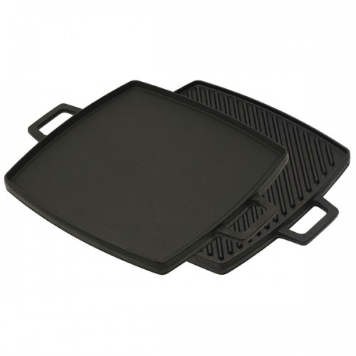 Bayou Classic Cast Iron Reversible Square Griddle and Grill