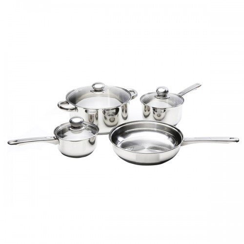 Kinetic GoGreen Classicor Seven-piece Stainless Steel Cookware Set With Glass Lid