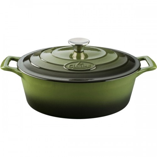 LaCuisine Green 6.75-quart Oval Cast Iron Casserole Dish With Enamel Finish