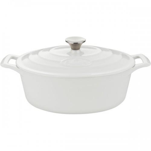 La Cuisine PRO White Oval Cast Iron 6.75-quart Enamel-finish Casserole