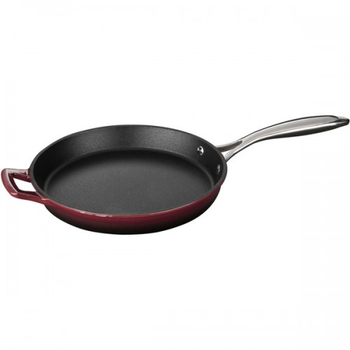 La Cuisine Round 10-inch Cast Iron Fry Pan with Riveted Stainless Steel Handle and Ruby Enamel Finish