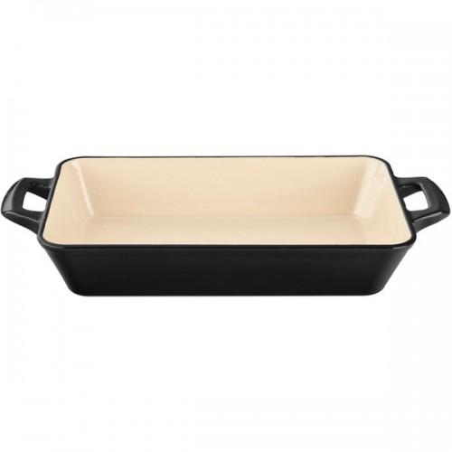 La Cuisine Small Deep Cast Iron Roasting Pan with Enamel Finish, Black