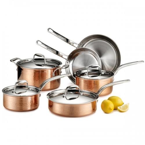 Lagostina Martellata Q554SA64 Tri-Ply Copper 10-Piece Set