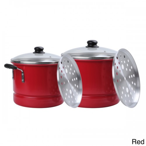 Aluminum 20-quart and 12-quart 6-piece Steamer Set