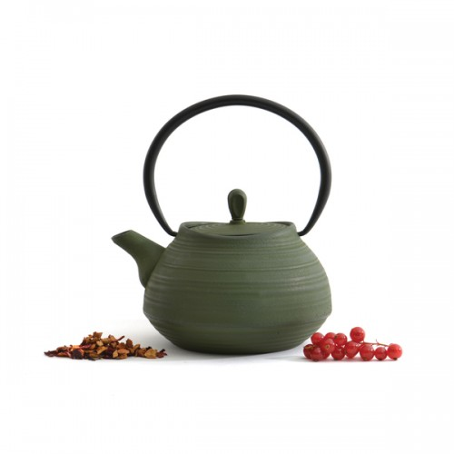 BergHoff Studio Dark Green Cast Iron 3.5-Cup Teapot With 18/10 Stainless Steel Fine Mesh Filter